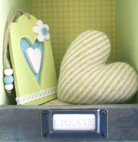 A little shelf full of hearts.